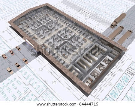 3D cut of shop building on architect's drawing. - stock photo