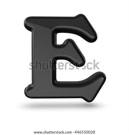 3d cute black letter E with cartoon comic and business numbers isolated white background shiny black material rendering
