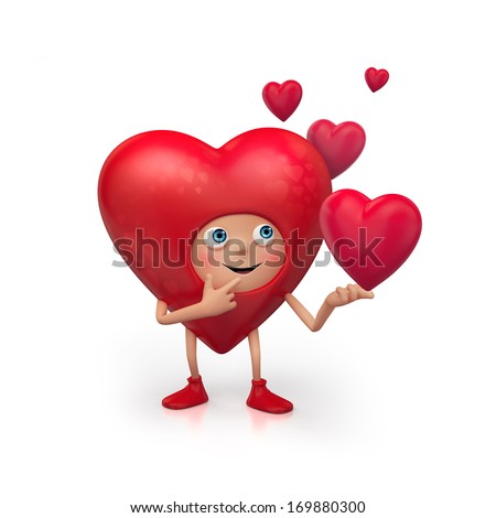3d cute funny heart cartoon character making choice, Valentines Day clip art