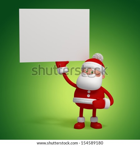 3d cute funny Santa Clause character holding blank card - stock photo