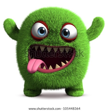 3d cute furry monster - stock photo