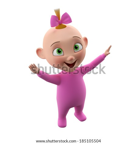 3d cute girl character, cheerful toddler in pajamas, a beautiful baby icon isolated on a white background, learning to walk  - stock photo