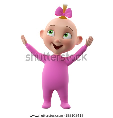 3d cute girl character, cheerful toddler in pajamas, a beautiful baby icon isolated on a white background cheering lifting your hands up, learning to walk   - stock photo