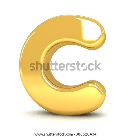 3d cute gold metal letter C with cartoon comic and business alphabet isolated white background shiny golden material rendering - stock photo