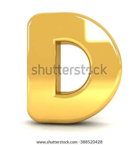 3d cute gold metal letter D with cartoon comic and business alphabet isolated white background shiny golden material rendering - stock photo
