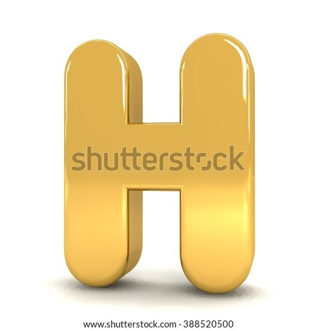 3d cute gold metal letter H with cartoon comic and business alphabet isolated white background shiny golden material rendering - stock photo
