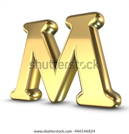 3d cute gold metal letter m with cartoon comic and business numbers isolated white background shiny golden material rendering