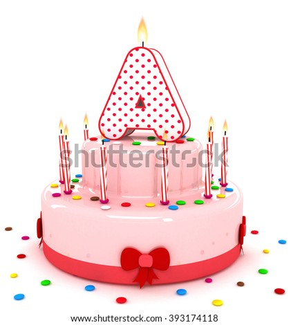 """3d cute letter """"A"""" rendering colorful birthday cake alphabet with sweet candle and decorate ribbon  isolated over white background - stock photo"""