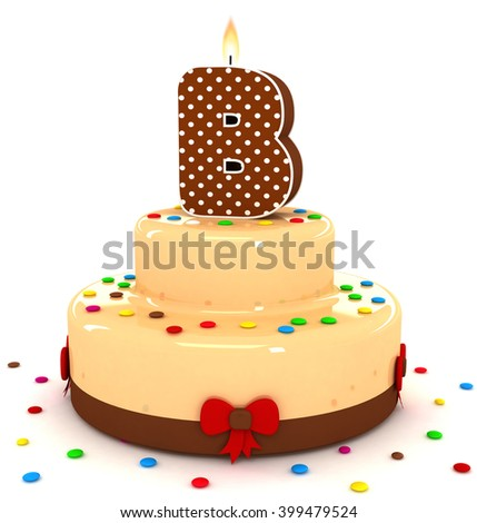 """3d cute letter """"B"""" rendering colorful with chocolate birthday cake alphabet with sweet polka dot candle and decorate red ribbon isolated over white background - stock photo"""