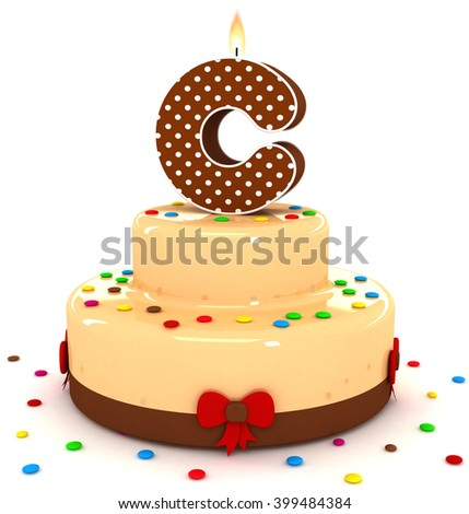 "3d cute letter ""C"" rendering colorful with chocolate birthday cake alphabet with sweet polka dot candle and decorate red ribbon isolated over white background"