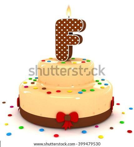 "3d cute letter ""F"" rendering colorful with chocolate birthday cake alphabet with sweet polka dot candle and decorate red ribbon isolated over white background"