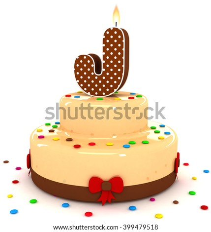 """3d cute letter """"J"""" rendering colorful with chocolate birthday cake alphabet with sweet polka dot candle and decorate red ribbon isolated over white background - stock photo"""