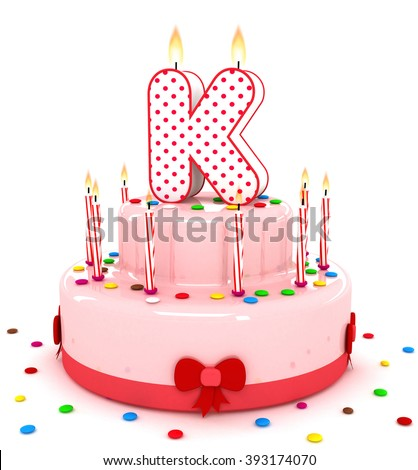 """3d cute letter """"K"""" rendering colorful birthday cake alphabet with sweet candle and decorate ribbon  isolated over white background - stock photo"""