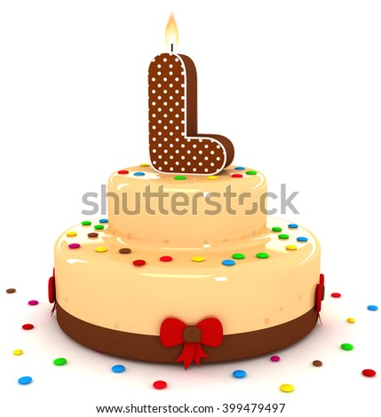 "3d cute letter ""L"" rendering colorful with chocolate birthday cake alphabet with sweet polka dot candle and decorate red ribbon isolated over white background"