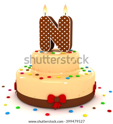 "3d cute letter ""N"" rendering colorful with chocolate birthday cake alphabet with sweet polka dot candle and decorate red ribbon isolated over white background"