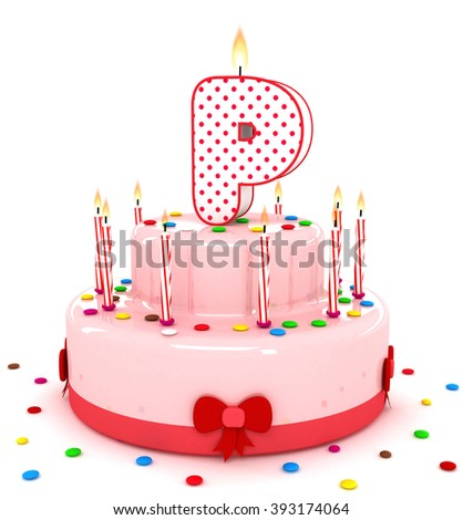 "3d cute letter ""P"" rendering colorful birthday cake alphabet with sweet candle and decorate ribbon  isolated over white background"