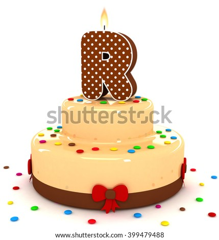 "3d cute letter ""R"" rendering colorful with chocolate birthday cake alphabet with sweet polka dot candle and decorate red ribbon isolated over white background"