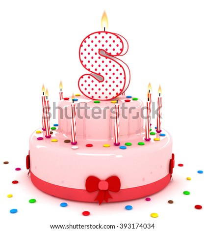 """3d cute letter """"S"""" rendering colorful birthday cake alphabet with sweet candle and decorate ribbon  isolated over white background - stock photo"""