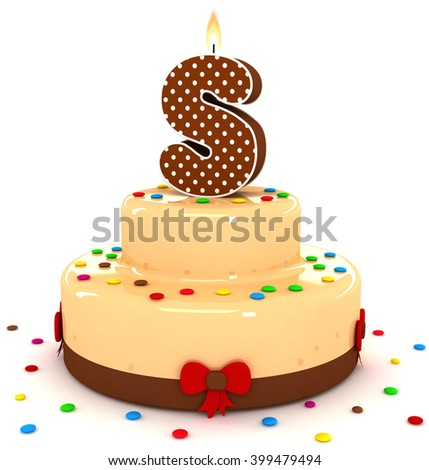 """3d cute letter """"S"""" rendering colorful with chocolate birthday cake alphabet with sweet polka dot candle and decorate red ribbon isolated over white background - stock photo"""