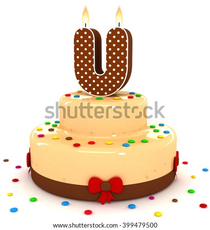"3d cute letter ""U"" rendering colorful with chocolate birthday cake alphabet with sweet polka dot candle and decorate red ribbon isolated over white background"