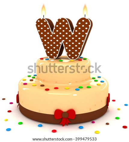"3d cute letter ""W"" rendering colorful with chocolate birthday cake alphabet with sweet polka dot candle and decorate red ribbon isolated over white background"