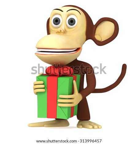 3d cute monkey holding green gift with a red ribbon and a bow. 3D render isolated on white.