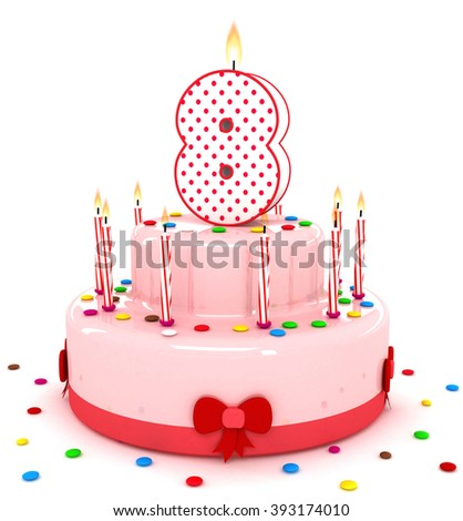 """3d cute number """"8"""" eight rendering colorful birthday cake  year with sweet candle and decorate ribbon  isolated over white background - stock photo"""