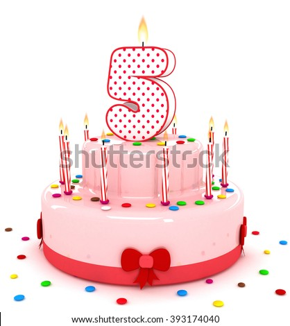 """3d cute number """"5"""" five rendering colorful birthday cake  year with sweet candle and decorate ribbon  isolated over white background - stock photo"""