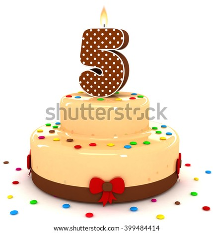3d cute number 5 five rendering colorful with chocolate birthday cake with sweet polka dot number year brown candle and decorate red ribbon isolated over white party background - stock photo