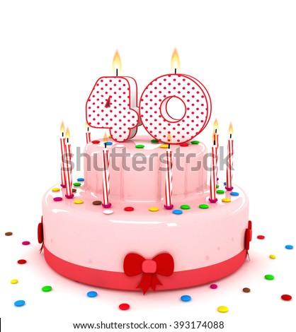 """3d cute number """"40"""" fourty rendering colorful birthday cake  year with sweet candle and decorate ribbon  isolated over white background - stock photo"""