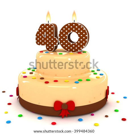3d cute number 40 fourty rendering colorful with chocolate birthday cake with sweet polka dot number year brown candle and decorate red ribbon isolated over white party background - stock photo