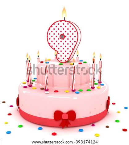 """3d cute number """"9"""" nine rendering colorful birthday cake  year with sweet candle and decorate ribbon  isolated over white background - stock photo"""