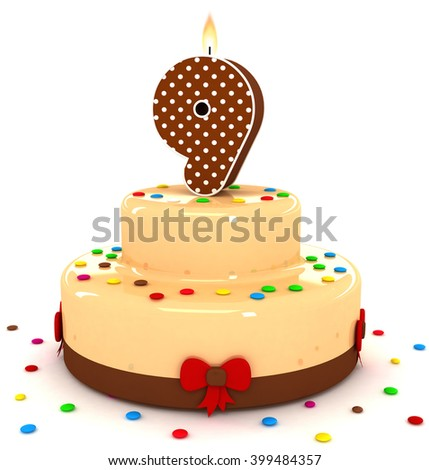 3d cute number 9 nine rendering colorful with chocolate birthday cake with sweet polka dot number year brown candle and decorate red ribbon isolated over white party background