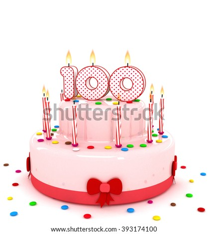"""3d cute number """"100"""" one hundred rendering colorful birthday cake  year with sweet candle and decorate ribbon  isolated over white background - stock photo"""