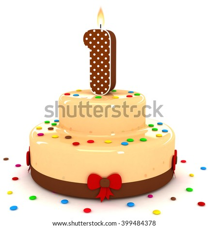 3d cute number 1 one rendering colorful with chocolate birthday cake with sweet polka dot number year brown candle and decorate red ribbon isolated over white party background - stock photo