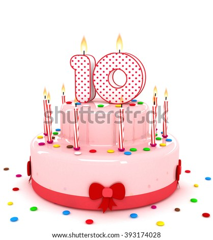 """3d cute number """"10"""" ten rendering colorful birthday cake  year with sweet candle and decorate ribbon  isolated over white background - stock photo"""