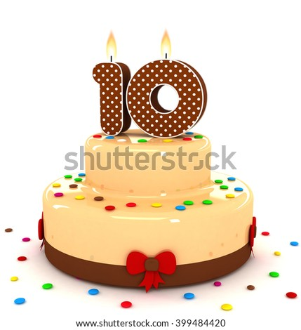 3d cute number 10 ten rendering colorful with chocolate birthday cake with sweet polka dot number year brown candle and decorate red ribbon isolated over white party background - stock photo