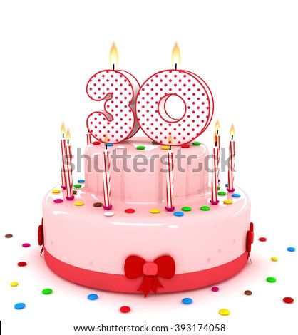"""3d cute number """"30"""" thirty rendering colorful birthday cake  year with sweet candle and decorate ribbon  isolated over white background - stock photo"""