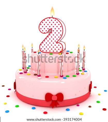 """3d cute number two """"2"""" rendering colorful birthday cake  year with sweet candle and decorate ribbon  isolated over white background - stock photo"""