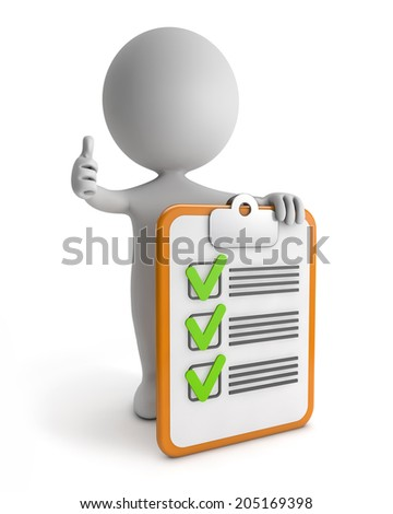 3d cute people -  clipboard checklist success isolated white background