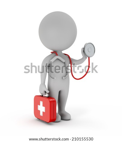 3d cute people - doctor holding stethoscope and first-aid kit isolated white backgorund - stock photo