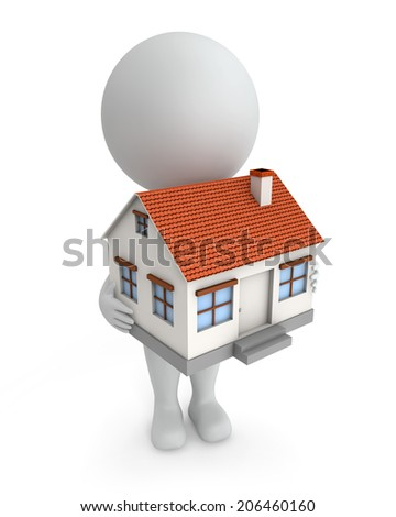 3d cute people - holding small model of a house isolated white background - stock photo