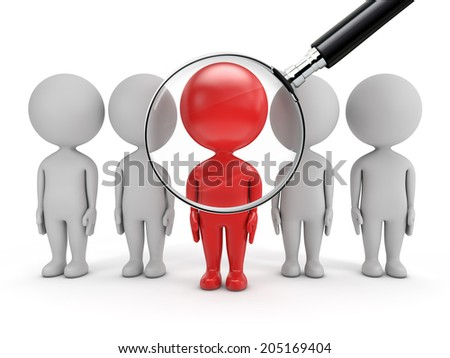 3d cute people - job search magnifying glass over red man  isolated white background - stock photo