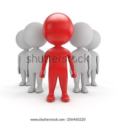 3d cute people - red team leader isolated white background