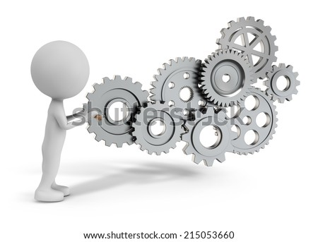 3d cute people - rotating gear mechanism isolated white background - stock photo