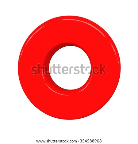 3d cute red letter o with cartoon baby comic and sweet alphabet isolated white background