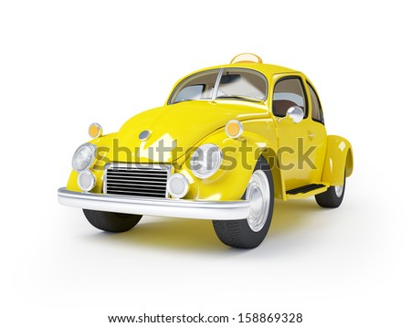3d cute retro fifties taxi isolated on white background - stock photo