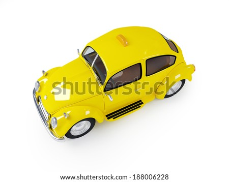 3d cute retro fifties taxi isolated on white background