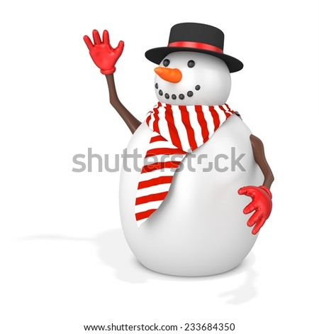 3d cute snowman with hat on white background - stock photo