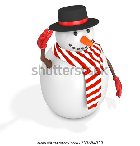 3d cute snowman with hat on white background